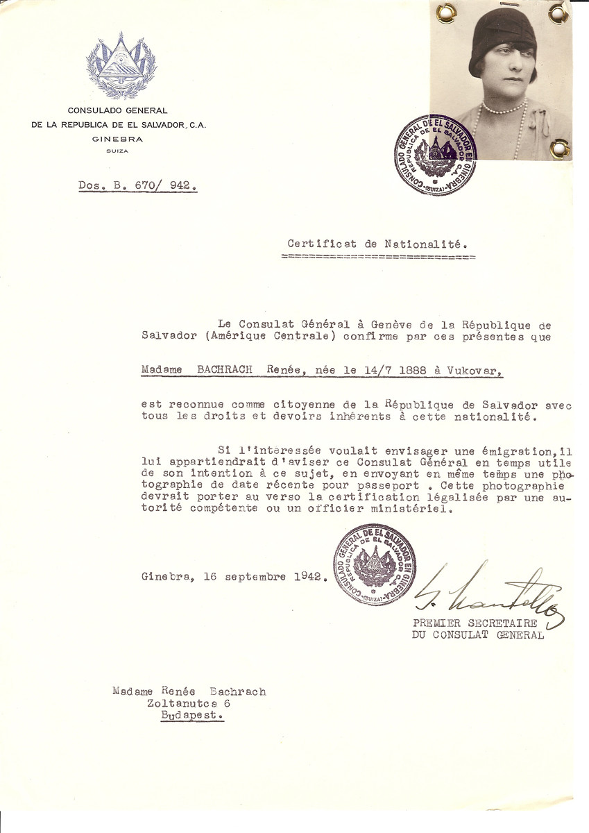 Unauthorized Salvadoran citizenship certificate issued to Renee Bachrach (b. July 14, 1888 in Vukovar) by George Mandel-Mantello, First Secretary of the Salvadoran Consulate in Switzerland and sent to her residence in Budapest.