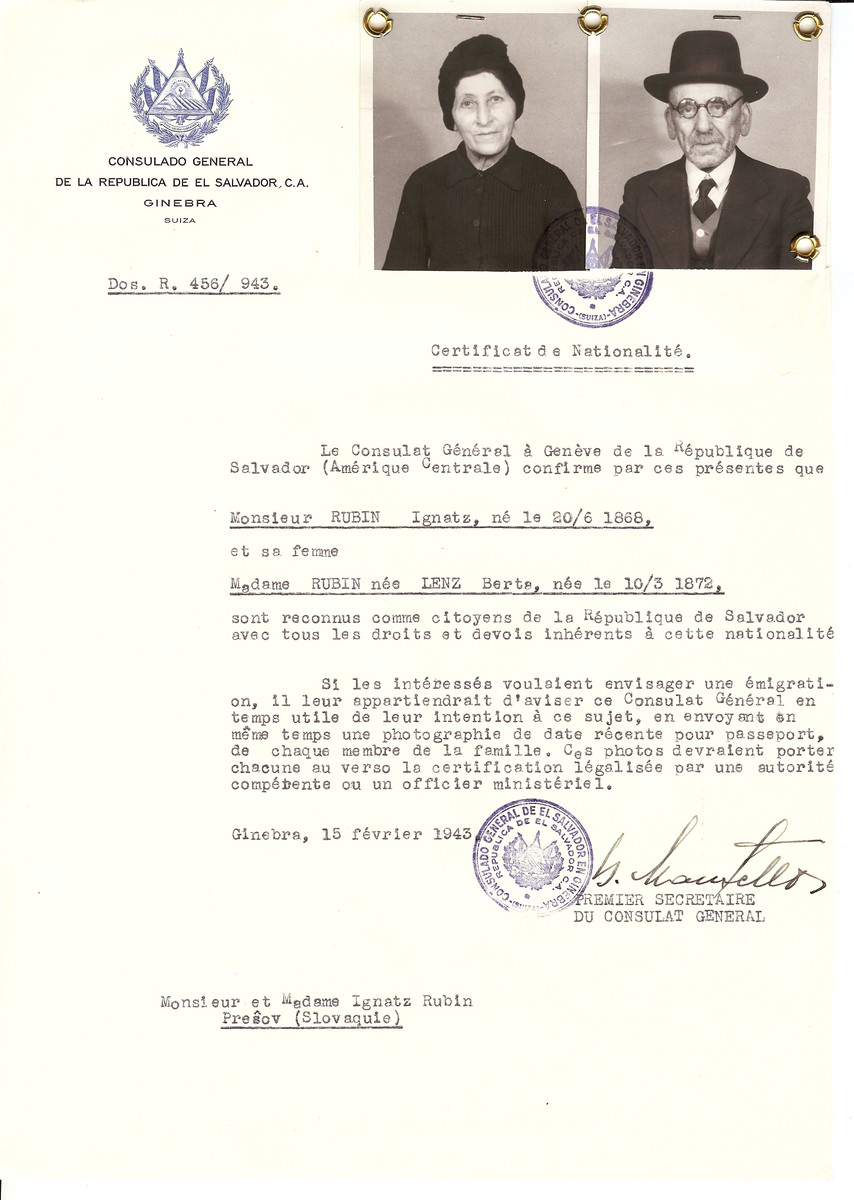 Unauthorized Salvadoran citizenship certificate issued to Ignatz Rubin (b. 06/20/1868) and his wife Berta (Lenz) Rubin (b. 03/10/1872) by George Mandel-Mantello, First Secretary of the Salvadoran Consulate in Switzerland and sent to them in Presov.