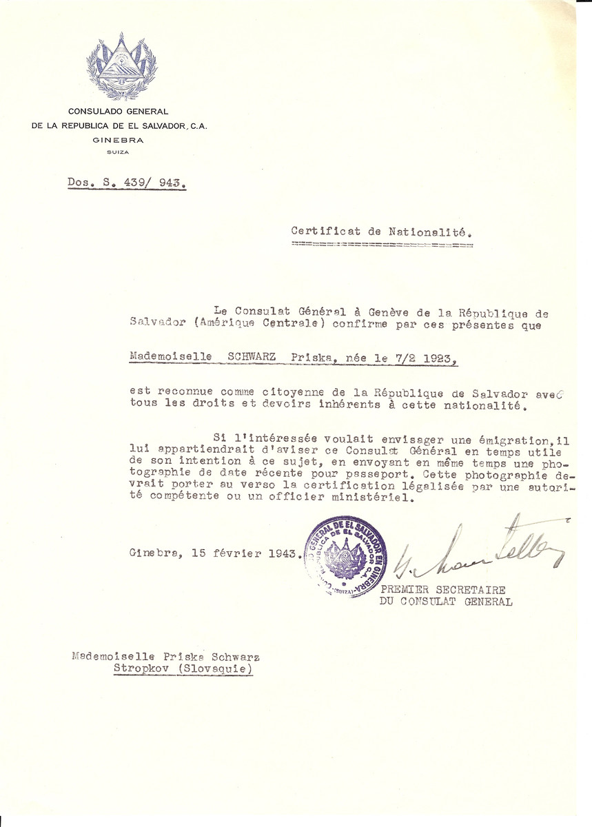 Unauthorized Salvadoran citizenship certificate issued to Priska Schwartz (b. 02/07/1923) by George Mandel-Mantello, First Secretary of the Salvadoran Consulate in Switzerland and sent to her residence in Stropkov.