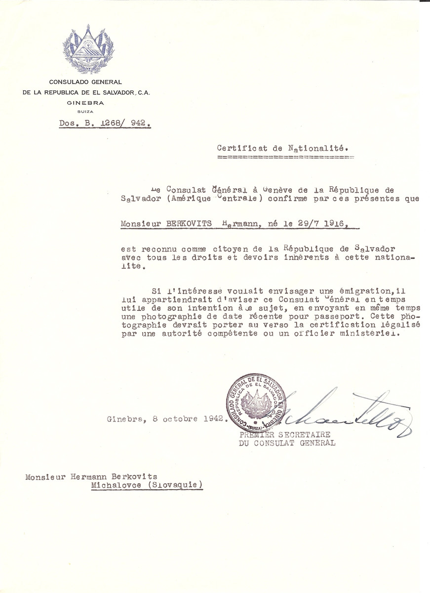 Unauthorized Salvadoran citizenship certificate issued to Hermann Berkovits (b. July 29, 1916) by George Mandel-Mantello, First Secretary of the Salvadoran Consulate in Switzerland.   The document was mailed to him in Michalovce.