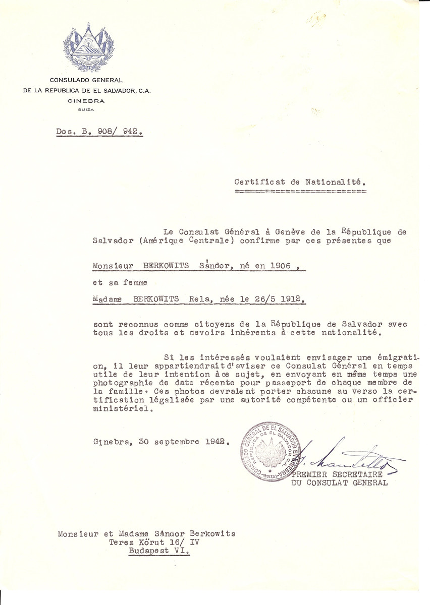 Unauthorized Salvadoran citizenship certificate issued to Sandor Berkowits (b. 1906) and his wife Rela Berkowits (b. May 26, 1912) by George Mandel-Mantello, First Secretary of the Salvadoran Consulate in Switzerland and sent to their residence in Budapest.