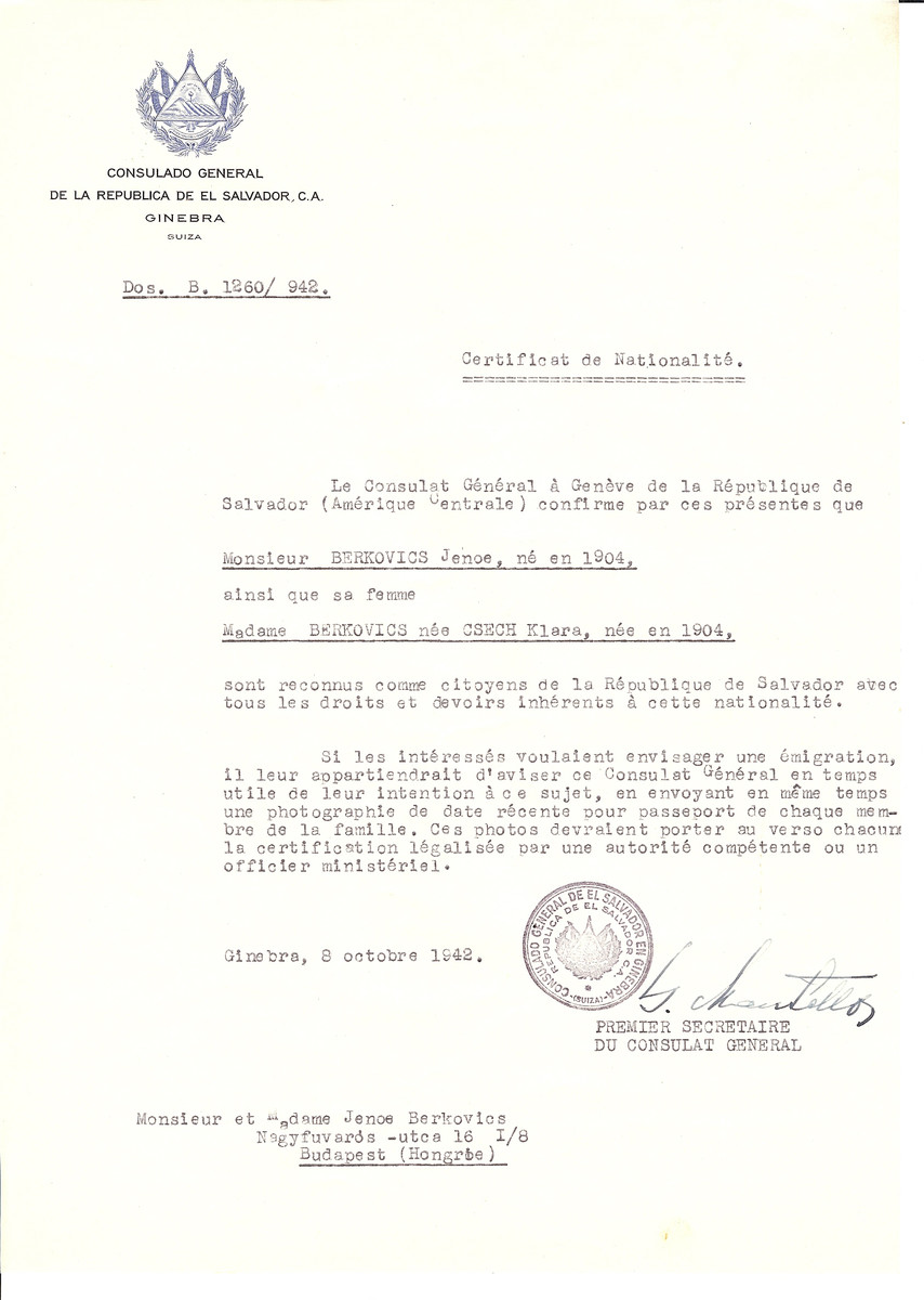 Unauthorized Salvadoran citizenship certificate issued to Jenoe Berkovics (b. 1904) and his wife Klara (nee Csech) Berkovics (b. 1904) by George Mandel-Mantello, First Secretary of the Salvadoran Consulate in Switzerland and sent to their residence in Budapest.