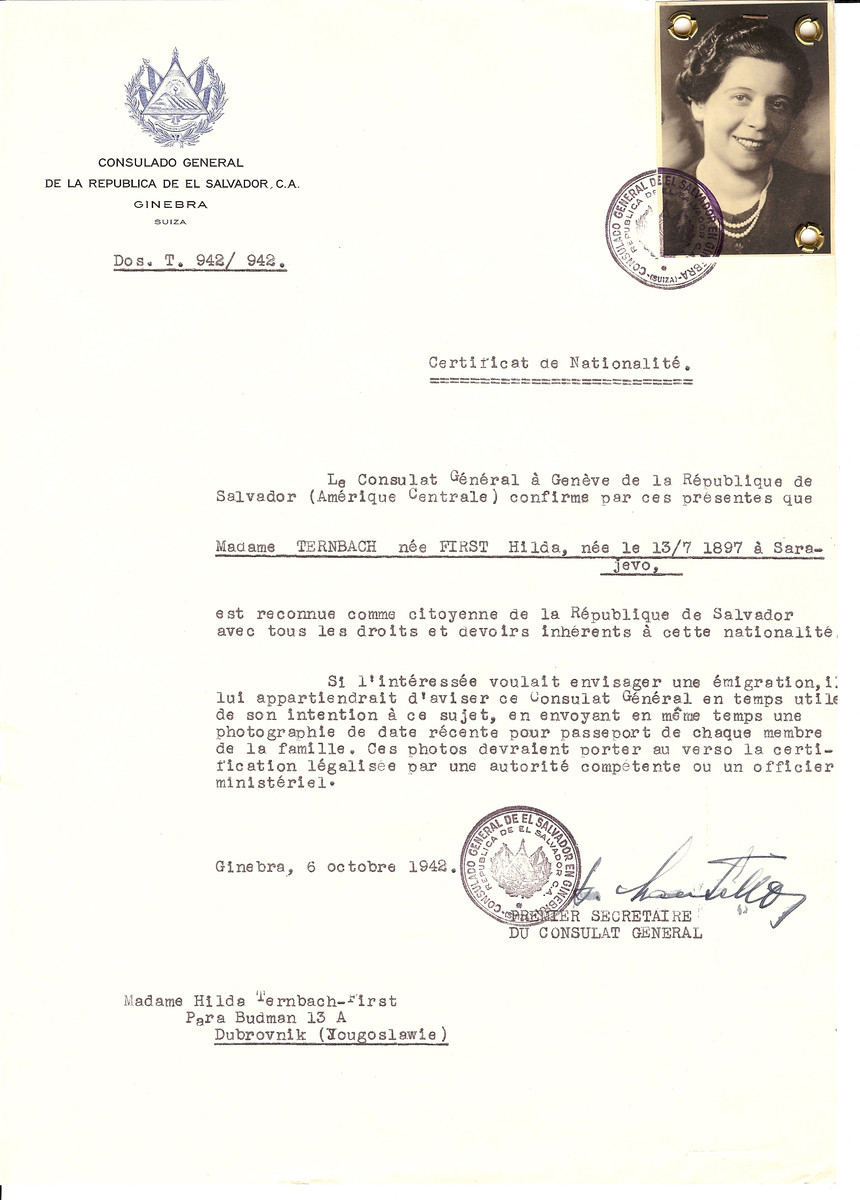 Unauthorized Salvadoran citizenship certificate issued to Hilda (First) Ternbach (b. July 13 1920, Sarajevo,Yugoslavia)  by George Mandel-Mantello, First Secretary of the Salvadoran Consulate in Switzerland. The document was mailed to Ternbach's residence in Dubrovnik, Yugoslavia.