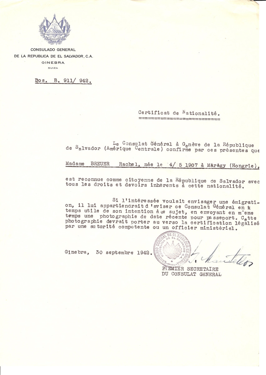 Unauthorized Salvadoran citizenship certificate issued to Rachel Breuer (b. May 4, 1907 in Maragy) by George Mandel-Mantello, First Secretary of the Salvadoran Consulate in Switzerland.