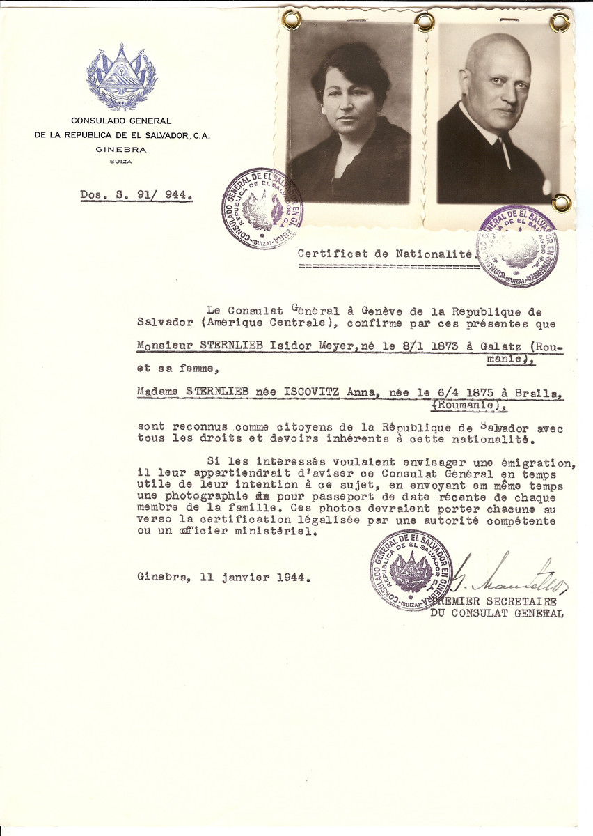 Unauthorized Salvadoran citizenship certificate issued to Isidor Meyer Sternlieb (b. 01/08/1873 at Galati ) and his wife Anna (Iscovitz) Sternlieb (b. 04/06/1875 at Braila) by George Mandel-Mantello, First Secretary of the Salvadoran Consulate in Switzerland.