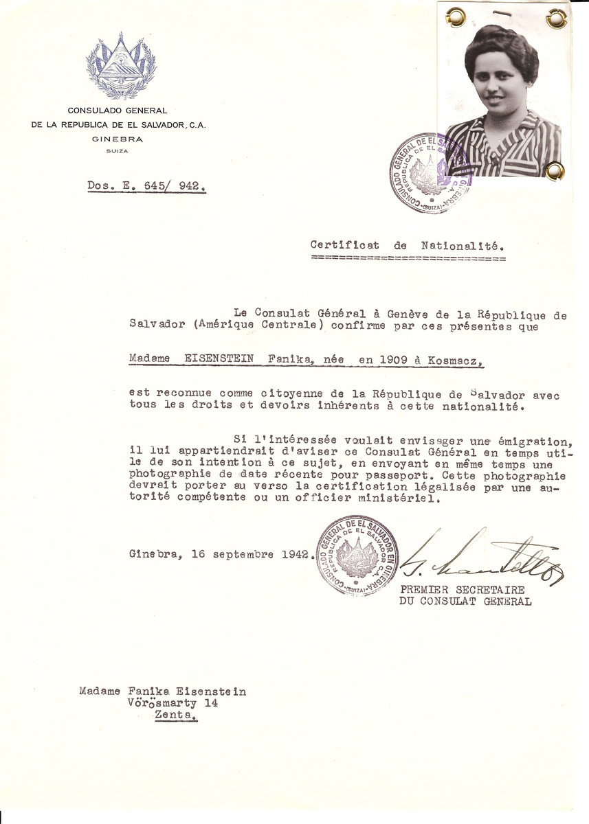 Unauthorized Salvadoran citizenship certificate issued to Fanika Eisenstein (b.1909 in Kosmach) by George Mandel-Mantello, First Secretary of the Salvadoran Consulate in Switzerland.  The certificate was sent to her at her residence at Vorosmarty 14, Zenta.