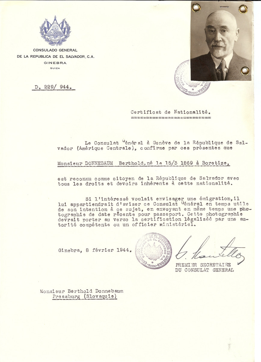 Unauthorized Salvadoran citizenship certificate issued to Berthold Donnebaum (b.3/15/1869 in Boretize) by George Mandel-Mantello, First Secretary of the Salvadoran Consulate in Switzerland and sent to him at his residence in Bratislava.