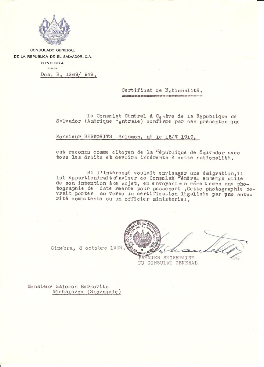 Unauthorized Salvadoran citizenship certificate issued to Salomon Berkovits (b. July 15, 1919) by George Mandel-Mantello, First Secretary of the Salvadoran Consulate in Switzerland.   The document was mailed to him in Michalovce.