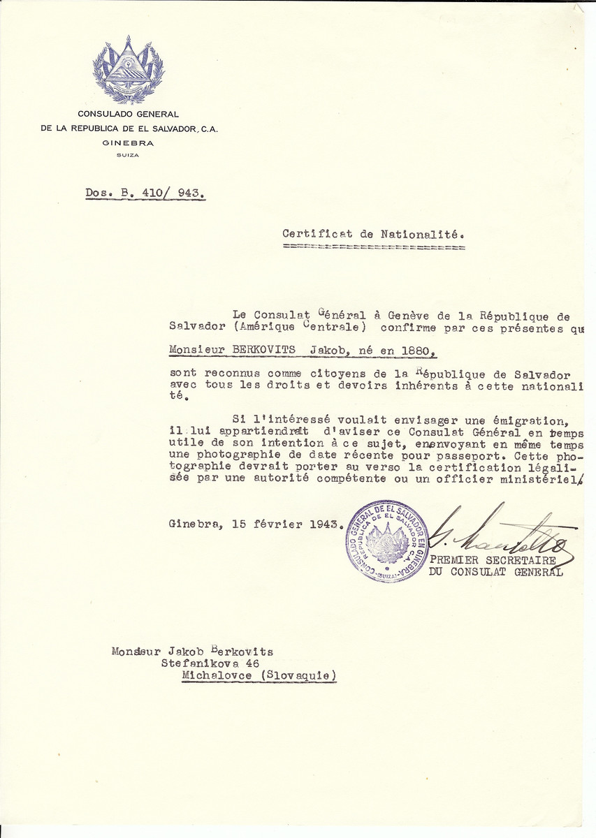 Unauthorized Salvadoran citizenship certificate issued to Jakob Berkovits (b. 1880) by George Mandel-Mantello, First Secretary of the Salvadoran Consulate in Switzerland.   The document was mailed to him in Michalovce.