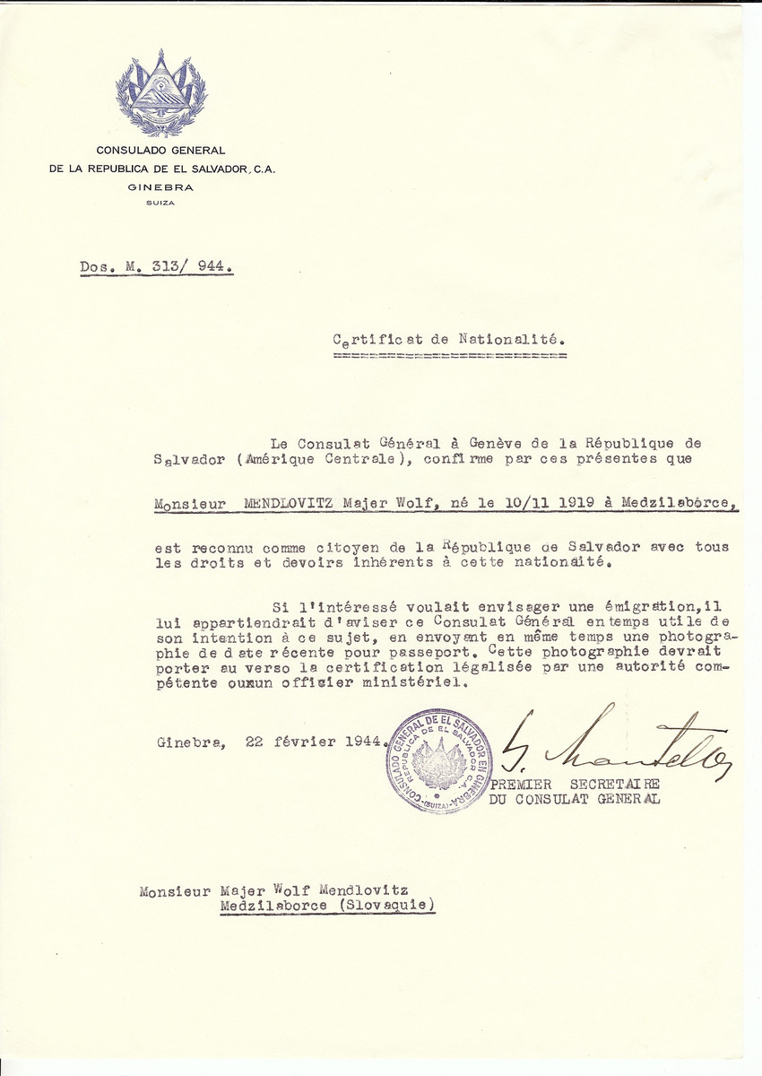 Unauthorized Salvadoran citizenship certificate issued to Mejer Wolf Mendlovits (b. 11/10/1919 in Medzilaborce) by George Mandel-Mantello, First Secretary of the Salvadoran Consulate in Switzerland.  The certificate was sent to his residence in Medzilaborce.