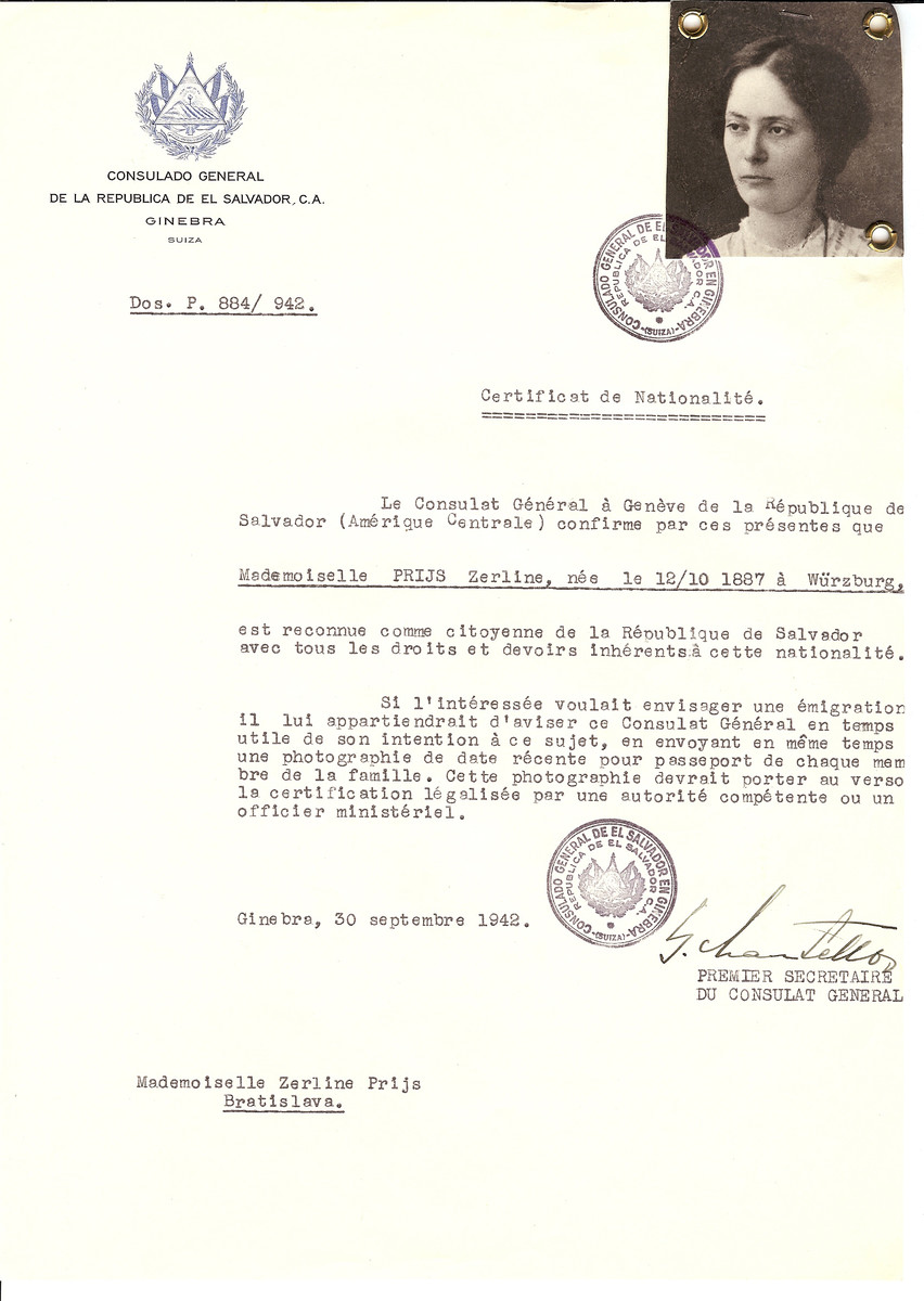 Unauthorized Salvadoran citizenship certificate issued to Zerline Prijs  (b. 10/12/1887 in Wurzburg) by George Mandel-Mantello, First Secretary of the Salvadoran Consulate in Switzerland and sent to her residence in Bratislava.