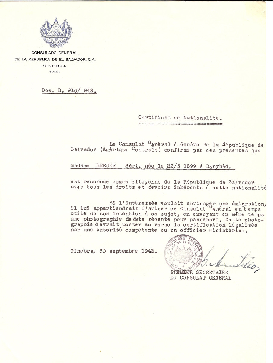 Unauthorized Salvadoran citizenship certificate issued to Sari Breuer (b. May 22, 1899 in Bonyhad) by George Mandel-Mantello, First Secretary of the Salvadoran Consulate in Switzerland.