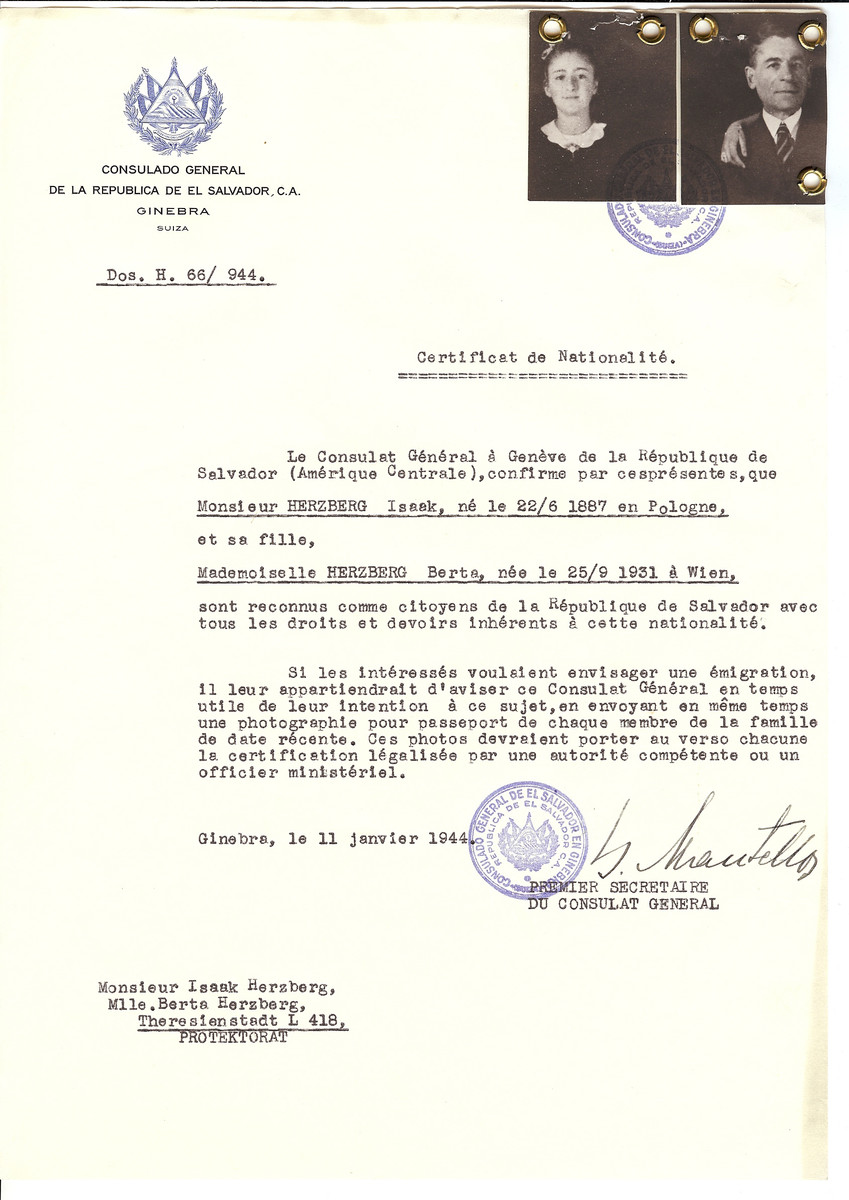 Unauthorized Salvadoran citizenship certificate issued to Isaak Herzberg (b. June 22, 1887, Poland) and his daughter, Berta Herzberg (b. September 25 1931, Vienna, Austria) by George Mandel-Mantello, First Secretary of the Salvadoran Consulate in Switzerland.   The document was mailed to the Theresienstadt concentration camp.