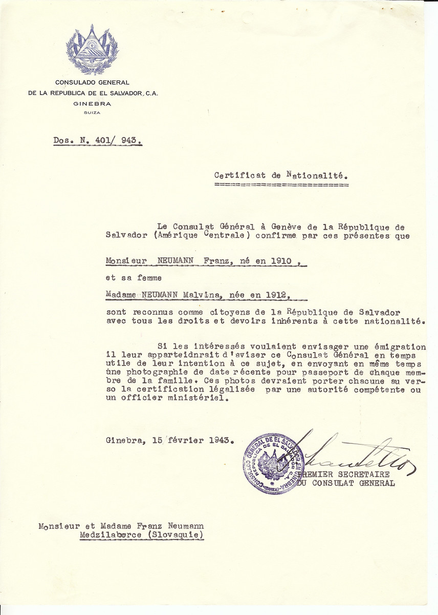 Unauthorized Salvadoran citizenship certificate issued to Saul Neumann (b. 1885), his wife Ester Neumann (b. 1887), and their children Markus (b. 1924) and Debora (b. 1921)  by George Mandel-Mantello, First Secretary of the Salvadoran Consulate in Switzerland.  The certificate was sent to their residence in Medzilaborce.