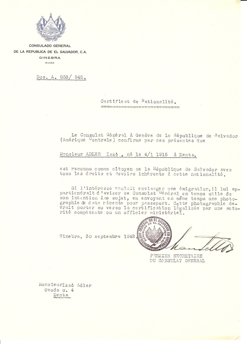 Unauthorized Salvadoran citizenship certificate issued to Iszo Adler (b. January 4, 1915 in Senta) by George Mandel-Mantello, First Secretary of the Salvadoran Consulate in Switzerland and sent to his residence in Senta.