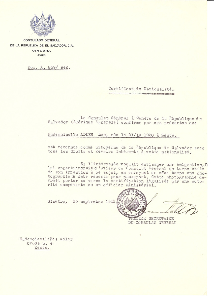 Unauthorized Salvadoran citizenship certificate issued to Lea Adler (b. October 21, 1920 in Senta) by George Mandel-Mantello, First Secretary of the Salvadoran Consulate in Switzerland and sent to her residence in Senta.