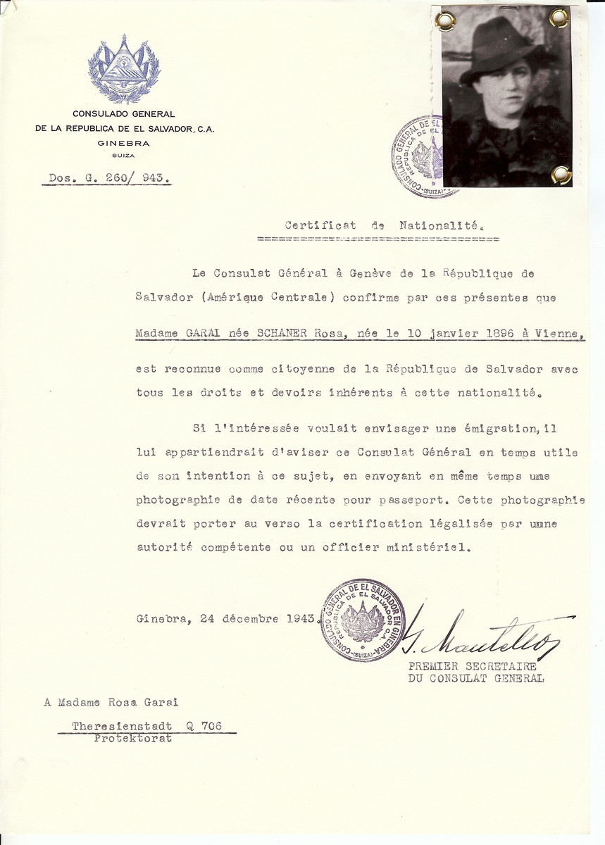 Unauthorized Salvadoran citizenship certificate issued to Rosa (Schaner) Garal (b. January 10 1896, Vienna, Austria) by George Mandel-Mantello, First Secretary of the Salvadoran Consulate in Switzerland.   The document was mailed to the Theresienstadt concentration camp.