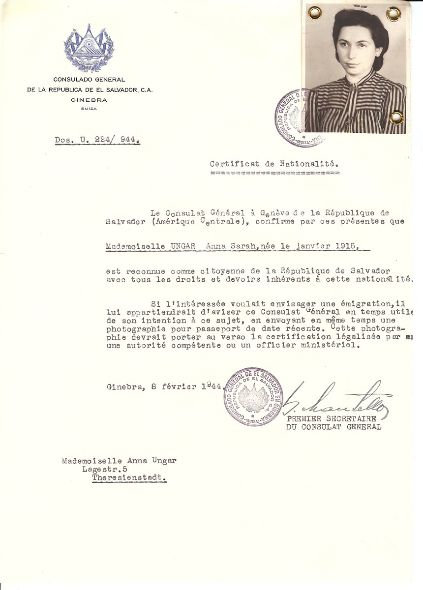 Unauthorized Salvadoran citizenship certificate issued to Anna Sarah Ungar (b. January 1915) by George Mandel-Mantello, First Secretary of the Salvadoran Consulate in Switzerland.   The document was mailed to the Theresienstadt concentration camp.