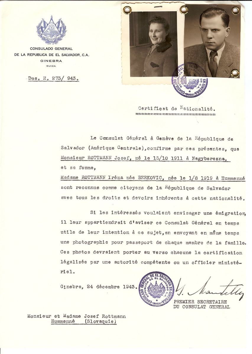 Unauthorized Salvadoran citizenship certificate issued to Josef Rottmann (b. 10/15/1911 in Velky Berezny) and his wife Irena (Berkovic) Rottman (b. 08/01/1919 in Hummenne) by George Mandel-Mantello, First Secretary of the Salvadoran Consulate in Switzerland and sent to their residence in Humenne.