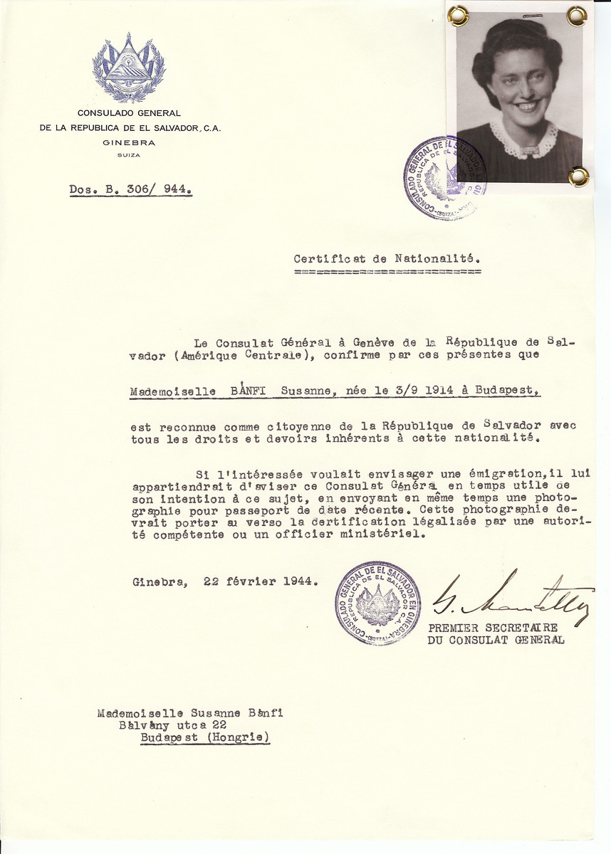 Unauthorized Salvadoran citizenship certificate issued to Susanne Banfi (b. September 3, 1914 in Budapest) by George Mandel-Mantello, First Secretary of the Salvadoran Consulate in Switzerland and sent to her residence in Budapest.   Susanne Banfi survived the Holocaust.