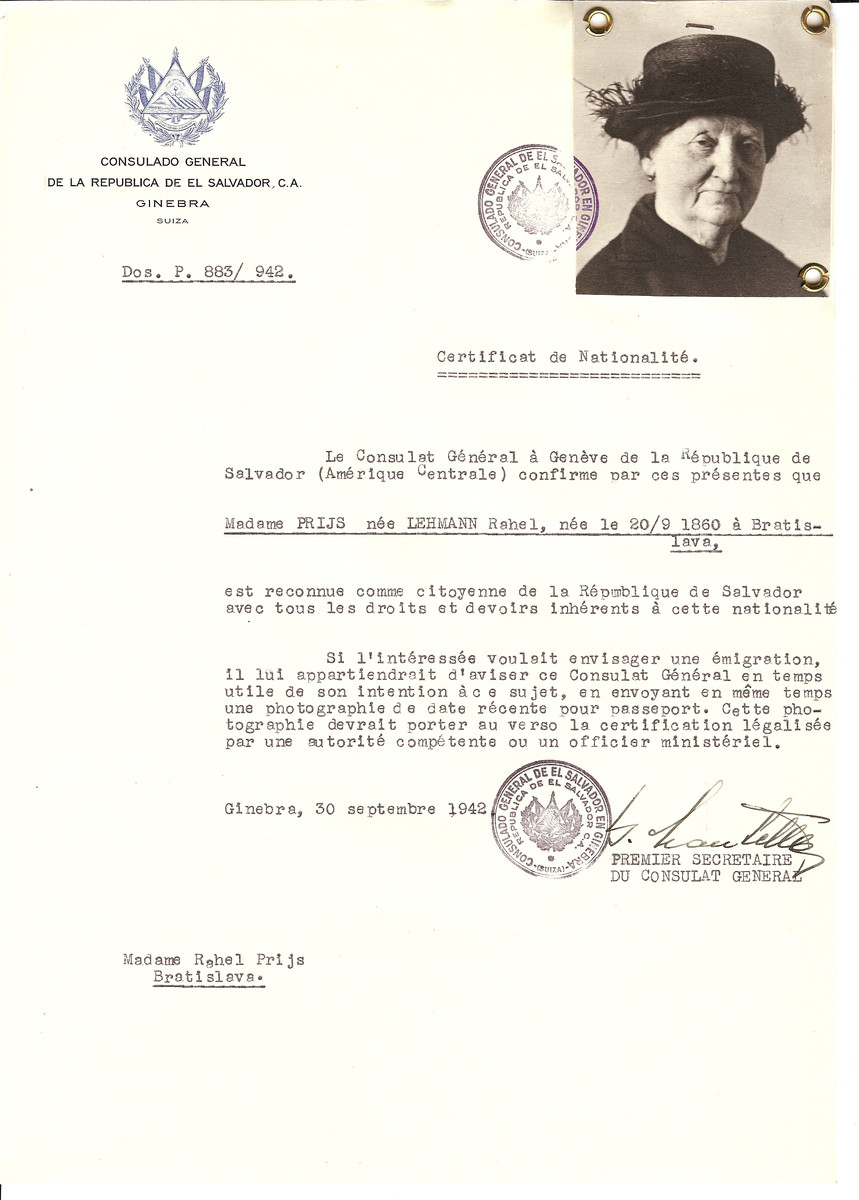 Unauthorized Salvadoran citizenship certificate issued to Rahel (Lehmann) Prijs (b. 09/20/1860 in Bratislava) by George Mandel-Mantello, First Secretary of the Salvadoran Consulate in Switzerland and sent to her residence in Bratislava.