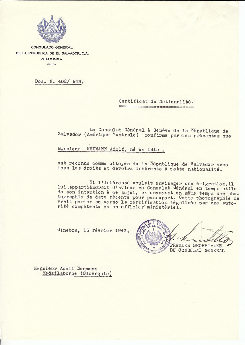 Unauthorized Salvadoran citizenship certificate issued to Adolf Neumann (b. 1915), by George Mandel-Mantello, First Secretary of the Salvadoran Consulate in Switzerland and sent to him in Medzilaborce.