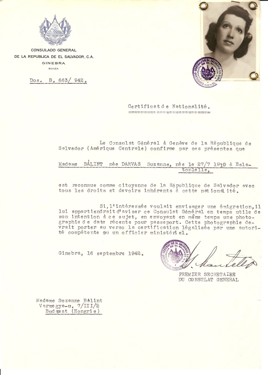 Unauthorized Salvadoran citizenship certificate issued to Suzanne (nee Darvas) Balint (b. July 27, 1910 in Balatonlelle) by George Mandel-Mantello, First Secretary of the Salvadoran Consulate in Switzerland and sent to her residence in Budapest.