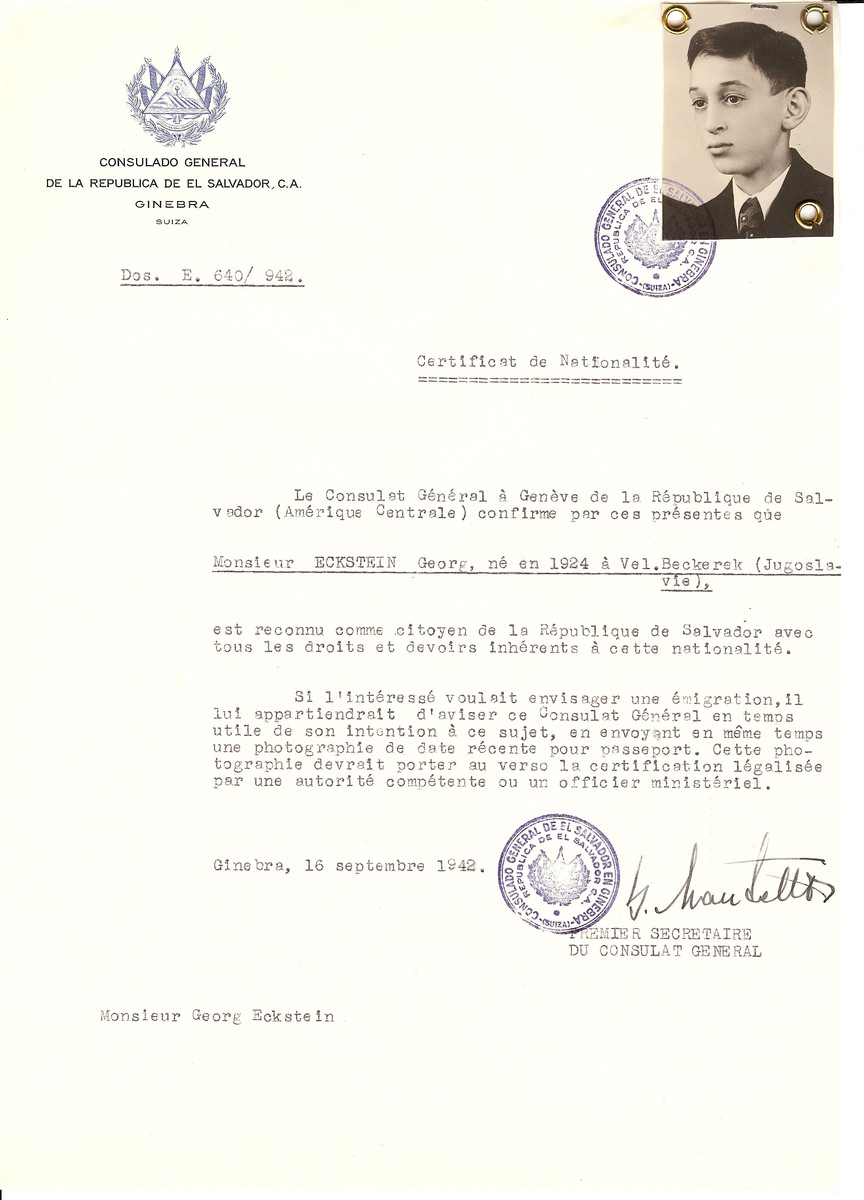 Unauthorized Salvadoran citizenship certificate issued to Georg Eckstein (b. 1924) by George Mandel-Mantello, First Secretary of the Salvadoran Consulate in Switzerland.   Georg Eckstein survived the Holocaust.