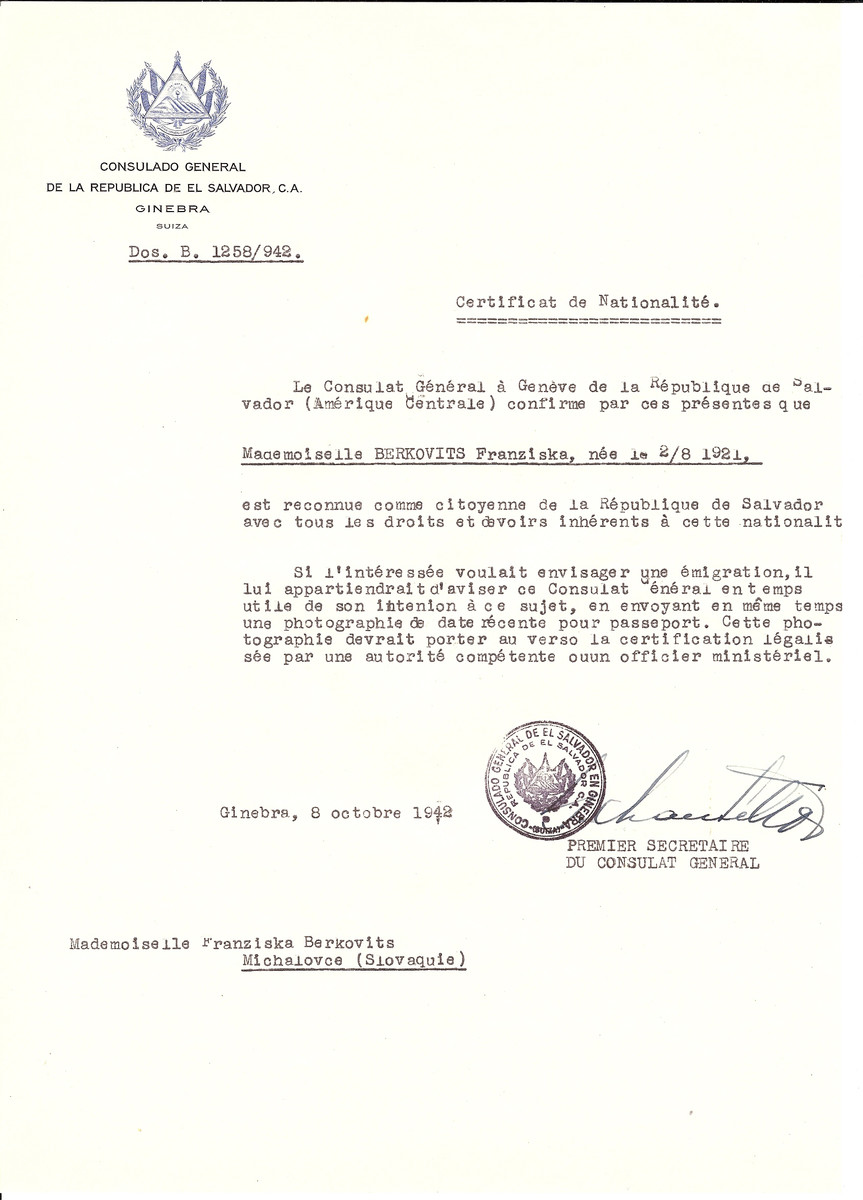 Unauthorized Salvadoran citizenship certificate issued to Franziska Berkovits (b. July 2, 1921) by George Mandel-Mantello, First Secretary of the Salvadoran Consulate in Switzerland.   The document was mailed to her in Michalovce.