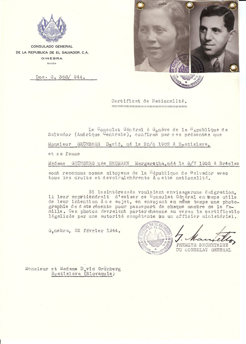 Unauthorized Salvadoran citizenship certificate issued to David Grunberg (b. 06/20/1902 in Bratislava) and his wife Margaretha (Neumann) Grunberg (b. 07/08/1905 in Breclav) by George Mandel-Mantello, First Secretary of the Salvadoran Consulate in Switzerland.  The certificate was sent to their residence in Bratislava.  David Grunberg survived the Holocaust.