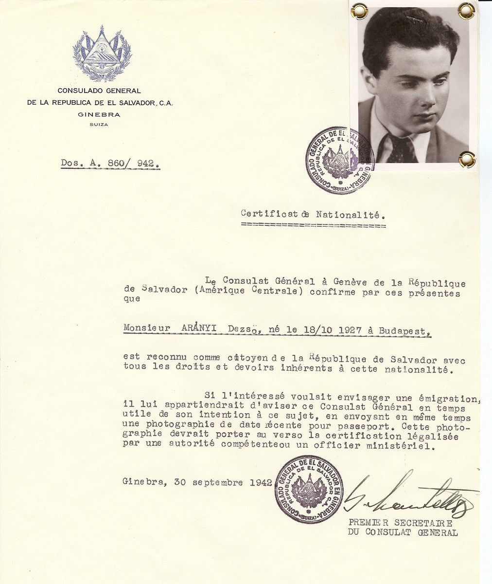 Unauthorized Salvadoran citizenship certificate issued to Dezso Aranyi (b. October 18, 1927 in Budapest)  by George Mandel-Mantello, First Secretary of the Salvadoran Consulate in Switzerland.