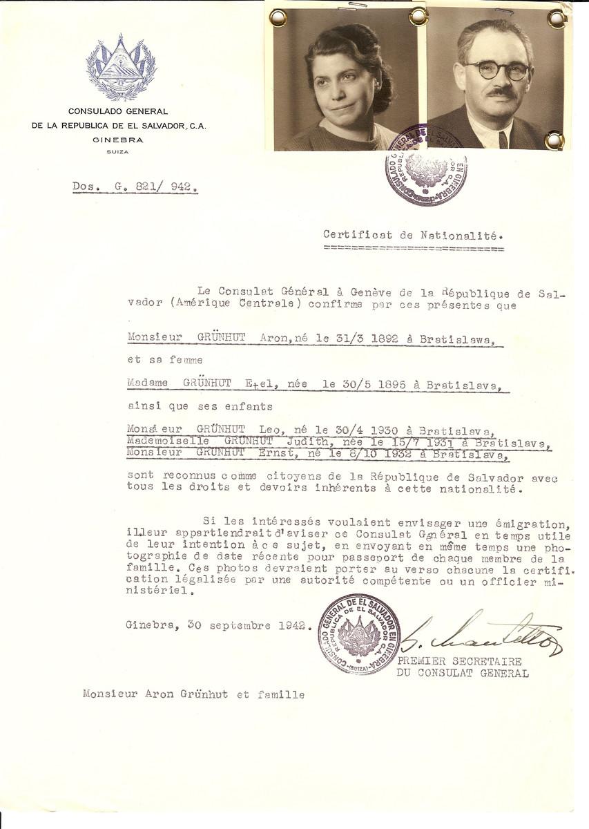 Unauthorized Salvadoran citizenship certificate issued to Aron Grunhut (b. 03/31/1892), his wife Etel Grunhut (b. 05/30/1895) and their children Leo (b. 04/30/1930), Judith (b. 07/15/1931), and Ernst (b. 10/08/1932) all born in Bratislava by George Mandel-Mantello, First Secretary of the Salvadoran Consulate in Switzerland.