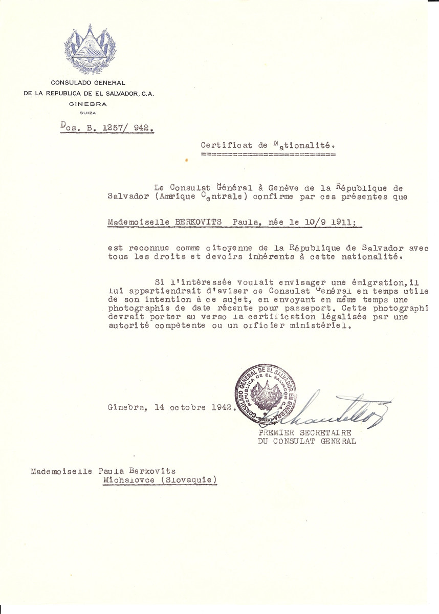 Unauthorized Salvadoran citizenship certificate issued to Paula Berkovits (b. September 10, 1911) by George Mandel-Mantello, First Secretary of the Salvadoran Consulate in Switzerland.   The document was mailed to her in Michalovce.