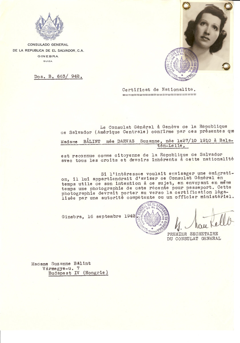 Unauthorized Salvadoran citizenship certificate issued to Suzanne (nee Darvas) Balint (b. October 27, 1910 in Balaton-Lelle) by George Mandel-Mantello, First Secretary of the Salvadoran Consulate in Switzerland and sent to her residence in Budapest.
