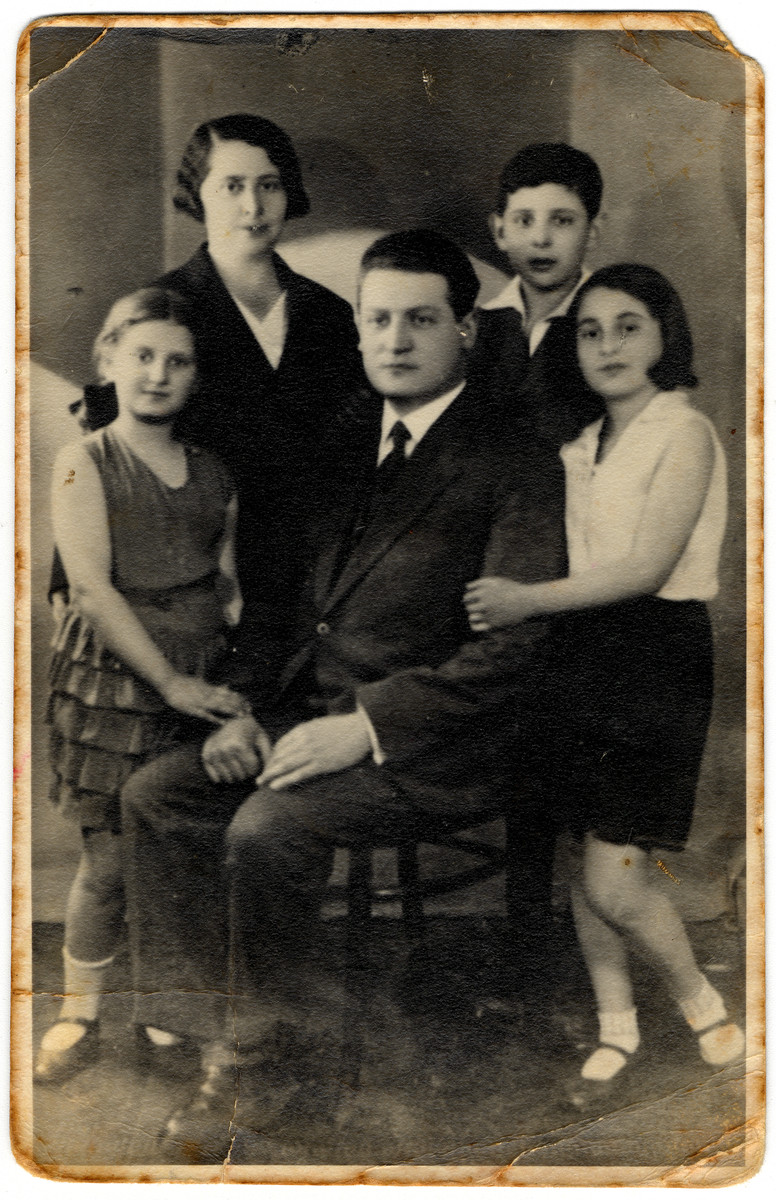 Portrait of the Tytelman family.  Among those pictured are the donor's mother, Pauline, her brother Samek (Samuel), and her sister Rega (Regina).  All perished in the holocaust in 1942.