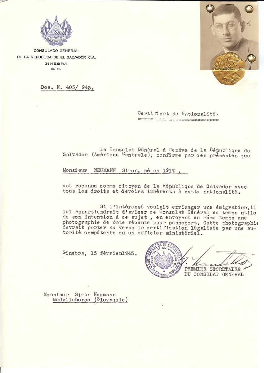 Unauthorized Salvadoran citizenship certificate issued to Simon Neumann (b. 1917), by George Mandel-Mantello, First Secretary of the Salvadoran Consulate in Switzerland and sent to his residence in Medzilaborce.