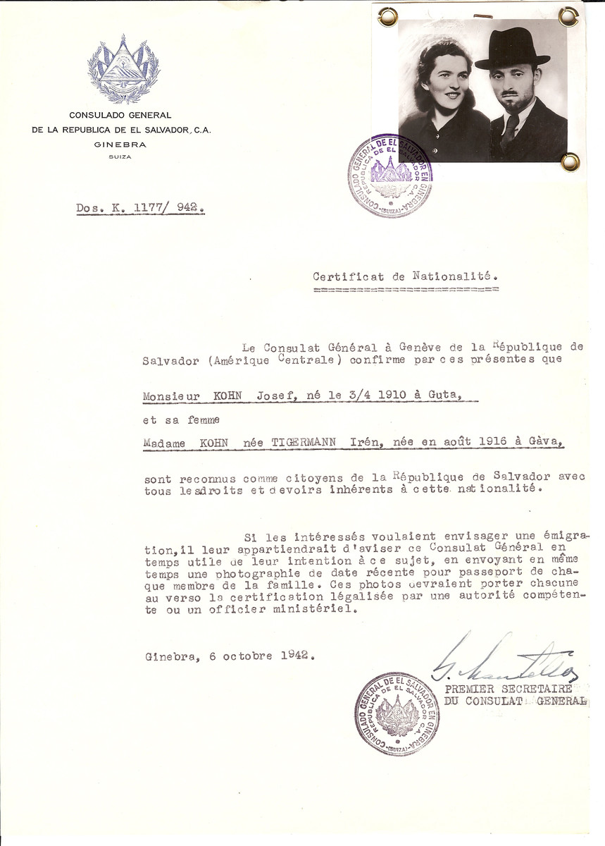 Unauthorized Salvadoran citizenship certificate issued to Josef Kohn (b. 04/03/1910 at Guta) and his wife Iren (Tigermann) Kohn (b. 8/1916  in Gava) by George Mandel-Mantello, First Secretary of the Salvadoran Consulate in Switzerland.