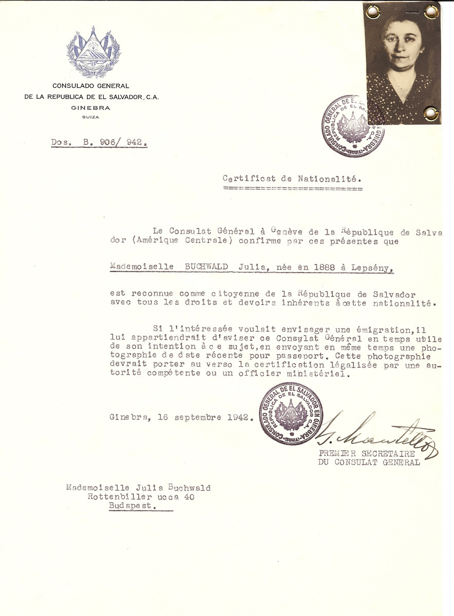 Unauthorized Salvadoran citizenship certificate issued to Julia Buchwald (b. 1888 in Lepseny) by George Mandel-Mantello, First Secretary of the Salvadoran Consulate in Switzerland and sent to her residence in Budapest.