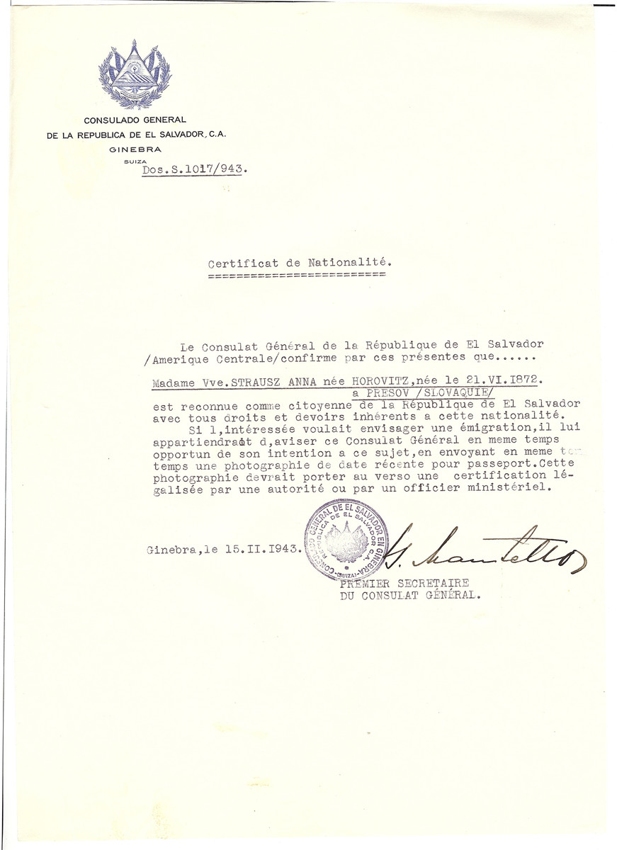 Unauthorized Salvadoran citizenship certificate issued to Anna (Horowitz) Strausz (b. 06/21/1872 in Presov) by George Mandel-Mantello, First Secretary of the Salvadoran Consulate in Switzerland.