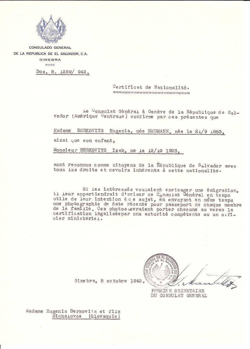 Unauthorized Salvadoran citizenship certificate issued to Eugenia (Neumann) Berkovits (b. September 21, 1883) and Izak Berkovits (b. October 12, 1923) by George Mandel-Mantello, First Secretary of the Salvadoran Consulate in Switzerland.   The document was mailed to them in Michalovce.
