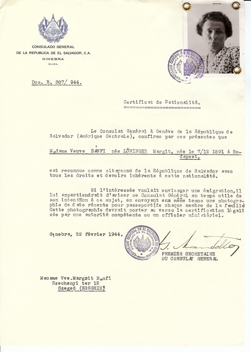 Unauthorized Salvadoran citizenship certificate issued to Margit (nee Lowinger) Banfi (b. December 7, 1891 in Budapest by George Mandel-Mantello, First Secretary of the Salvadoran Consulate in Switzerland and sent to her residence in Szeged.