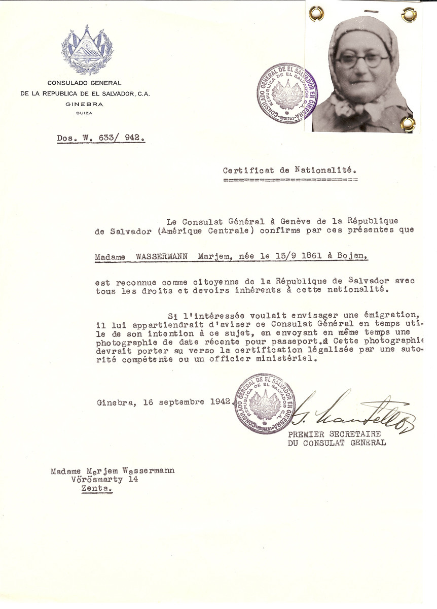 Unauthorized Salvadoran citizenship certificate issued to Marjem Wassermann (b. 09/15/1861 in Boian) by George Mandel-Mantello, First Secretary of the Salvadoran Consulate in Switzerland.  The certificate was sent to her residence at Vorosmarty 14, Senta.