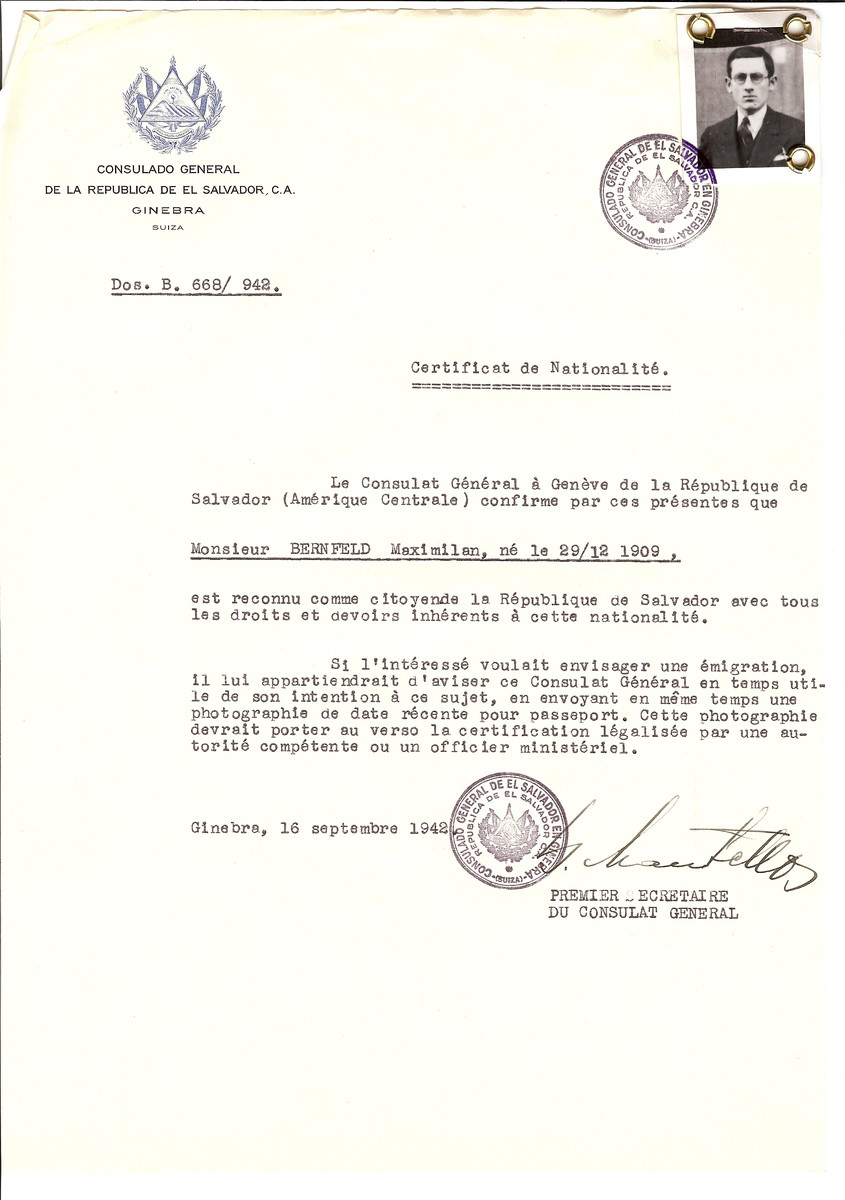 Unauthorized Salvadoran citizenship certificate issued to Maximilian Bernfeld (b. December 29, 1909) by George Mandel-Mantello, First Secretary of the Salvadoran Consulate in Switzerland.