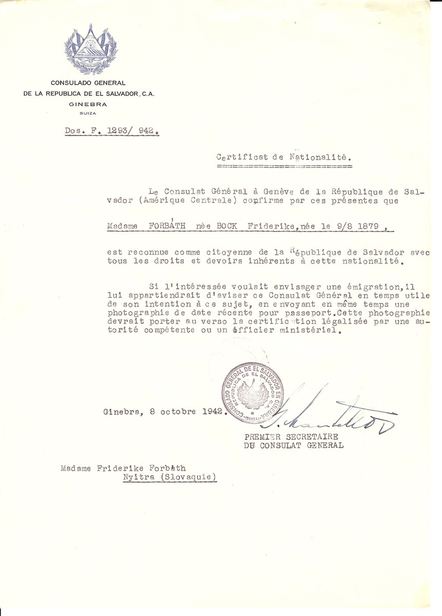 Unauthorized Salvadoran citizenship certificate issued to Friderike (Bock) Forbath (b. 08/09/1879) by George Mandel-Mantello, First Secretary of the Salvadoran Consulate in Switzerland.  The certificate was sent to her at her residence in Nitra.
