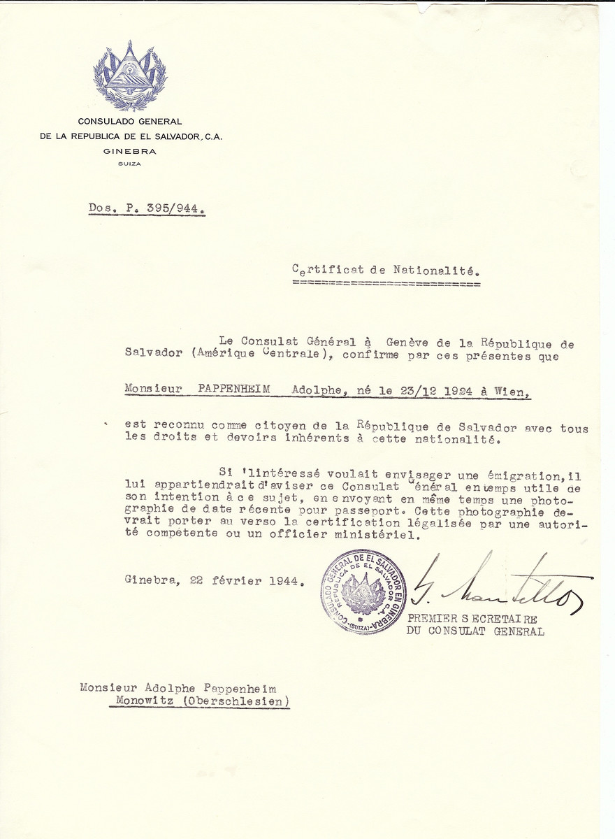 Unauthorized Salvadoran citizenship certificate issued to Adolphe Pappenheim (b. December 23 1924, Vienna, Austria) by George Mandel-Mantello, First Secretary of the Salvadoran Consulate in Switzerland.   The document was mailed to the Monowitz concentration camp.