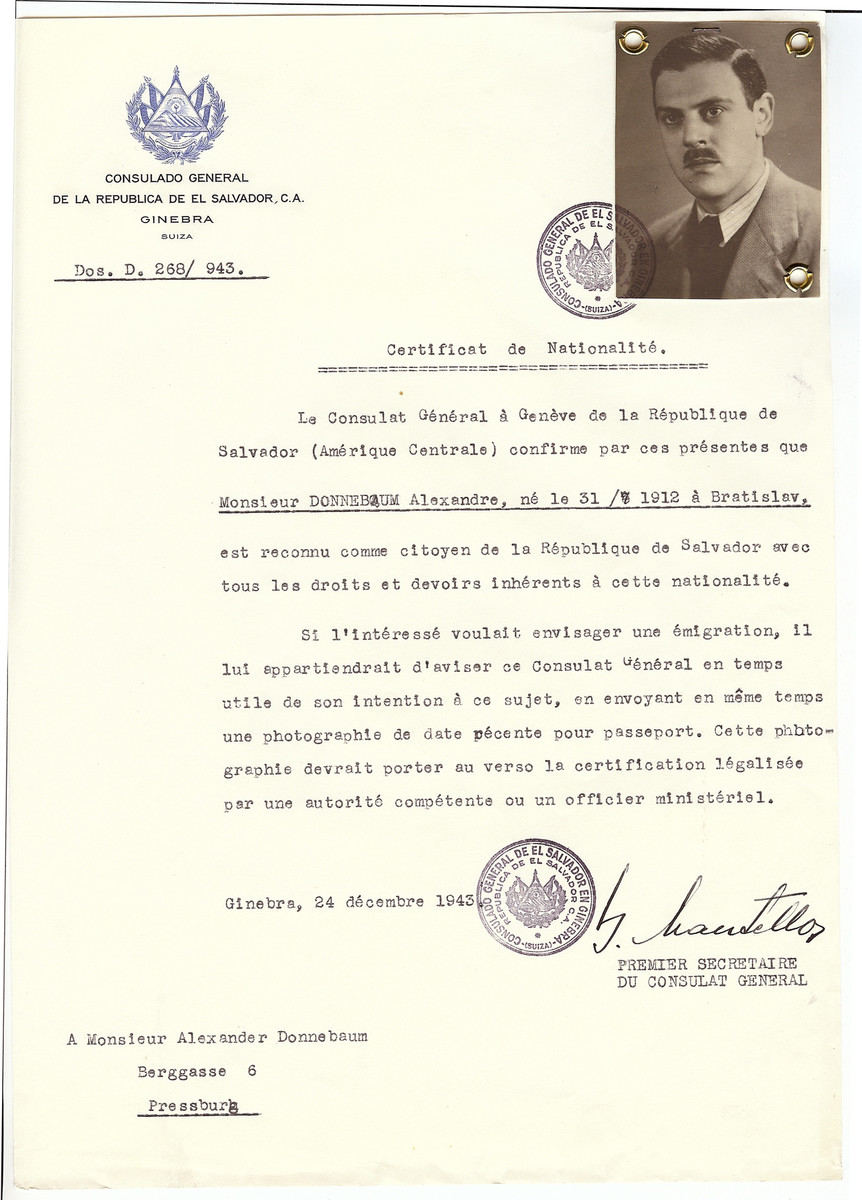 Unauthorized Salvadoran citizenship certificate issued to Alexandre Donnebaum (b. July 31, 1912) by George Mandel-Mantello, First Secretary of the Salvadoran Consulate in Switzerland.   The certificate was sent to him in his residence in Pressburg.