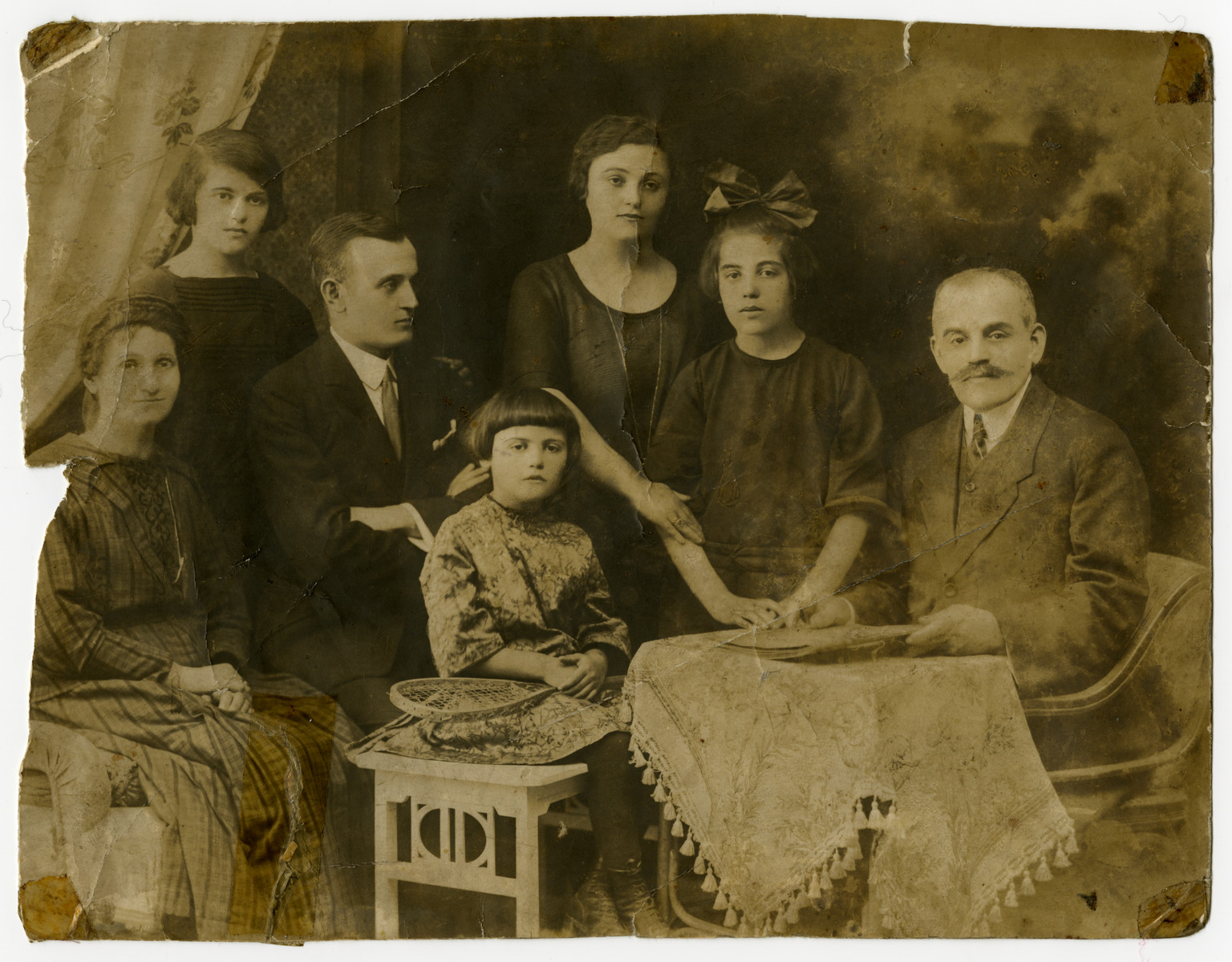 Prewar family portrait Cecilia and Lajos Klein (grandparents of the donor) and their five children.  From the left to right are Cecilia nee Fogel Klein, Ilonka, Sandor, Frederika, Mariska, Rozsa and Lajos Klein.