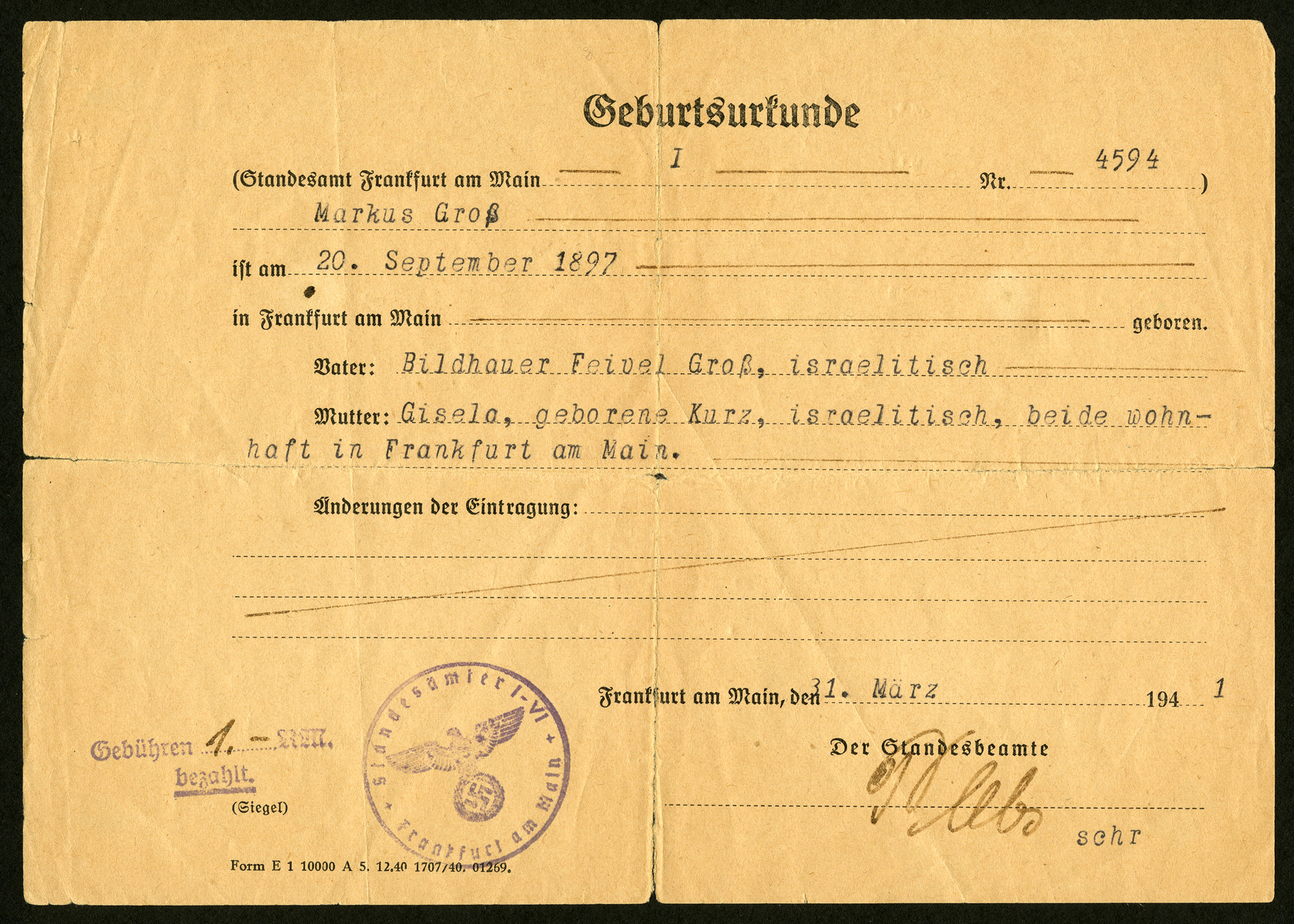 The birth certificate of Markus (Max) Gross.