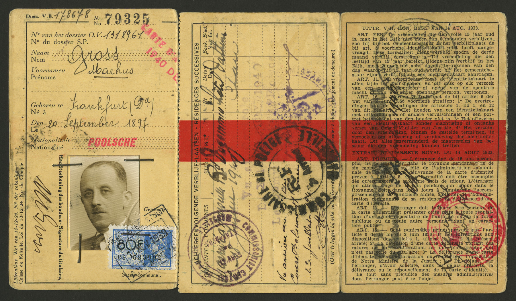 Max Gross's Belgian passport.