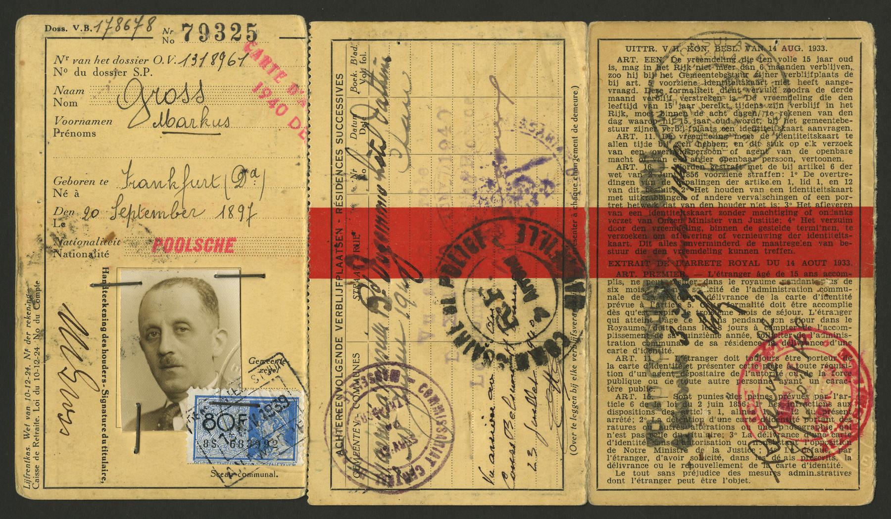 Max Gross's Belgian passport.